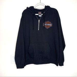 Harley Davidson Black 1/4 Zip Hoodie Sweatshirt XL